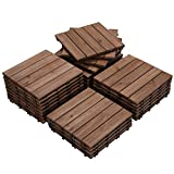 Yaheetech Interlocking Patio Deck Tiles 12 x 12in 27PCS Wood Floor Tiles Outdoor Flooring for Patio Garden Deck Poolside Brown
