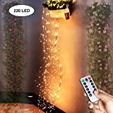 PXB Firefly Bunch Lights, 220 Led Copper Wire Waterfall Lights with Battery Operated Timing Function 8 Modes Waterproof Remote Control, Fairy Spray String Lights for Indoor Outdoor Wedding Christmas