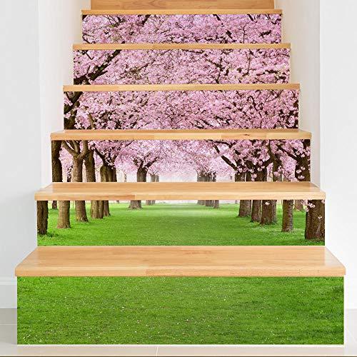Treppenaufkleber 3D Selbstklebend Wasserdicht Abnehmbar für Küchenschrank Treppe Bad DIY Hauptkunstdekoration (100 x 18 cm x 6 pc) Cherry Blossom Avenue