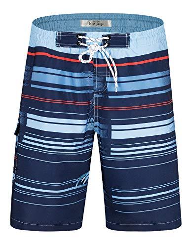 Herren Badeshorts Schnelltrocknende Badehose Surf Beach Board Shorts mit verstellbarem Kordelzug Blau EHS021-M