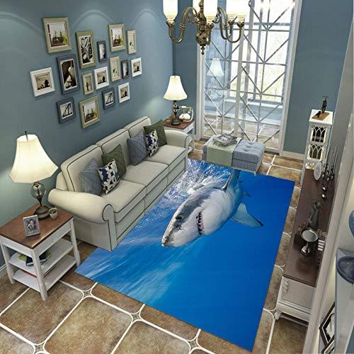 Alfombra Suave, Moderno Estilo Decoración Alfombras, Niños Gateando Manta, Arte De Impresión 3D Gran Tiburón Blanco, 100(H)X150(W)Cm Moqueta Para Dormitorio Y Salón O Habitación Infantil