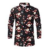 LRWEY - Camisa vaquera de manga larga para hombre, diseño de Navidad, estilo casual