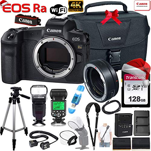 Canon EOS Ra Mirrorless Digital Camera 30.3MP Full-Frame (Body Only) with Canon EF-EOS R Mount Adapter + 128GB Memory Card, Canon 100-Es Case, Shoulder Strap, TTL Automatic Flash, TTL Cord and More