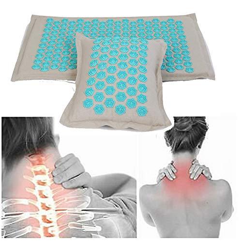QIYU Akupressur-Set, Akupressurmatte, umweltfreundlich, Schmerzen im Rücken und Nacken, Entspannung der Muskulatur, Akupressurmatte zur wohltuenden Entspannung