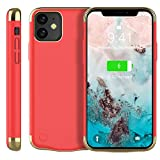BasicStock Coque Batterie iPhone 11 / XI 6.1 inch, 6000mAh Rechargeable Externe Chargeur Portable Power Bank Antichoc Housse de Protection pour iPhone 11 / XI 6.1 inch (Rouge)