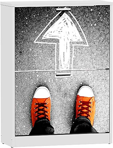 Suarez Hashtag A7 Zapatero 2 baldas, melamina, Blanco, 82 x 60 x 24,2 cm