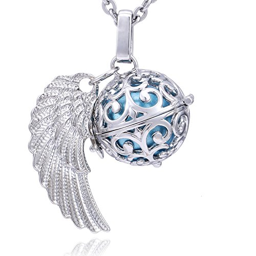 Morella Collar ángel de la Guarda de Acero Inoxidable 70 cm con Colgante alas de ángel y Bola de resonancia de Color Azul Claro Ø 16 mm para Damas en Bolsa para Joyas
