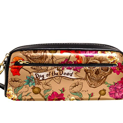 AITAI PU Leather Pencil Case Day of The Dead Skull Pattern Zipper Pen Pouch for School, Work & Office