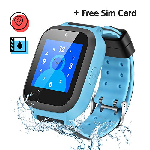 Enow Kids Smart Watch, IP67 Waterproof GPS/LBS Tracker Smartwatch with SOS Call Camera Alarm Activity 1.44'' Touch Screen SIM Card Slot Electronic Toy for Android/iOS (Sim Card Included)