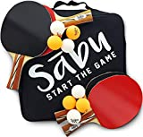 Ping Pong Paddles Balls Set: Table Tennis Paddle & Ball Storage Case Bag. for Indoor & Outdoor Ping-Pong Game. 4 Pro Spin Rubber & Wood Racket. Best Sports Toy Gifts for Boys, Girls, Men, Women, Kids