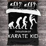 The Karate Kid Juego de ropa de cama infantil, diseño de karate, suave y cómodo, película de acción de 3 piezas, microfibra (Karate4, 135 x 200 cm + 80 x 80 cm x 2)
