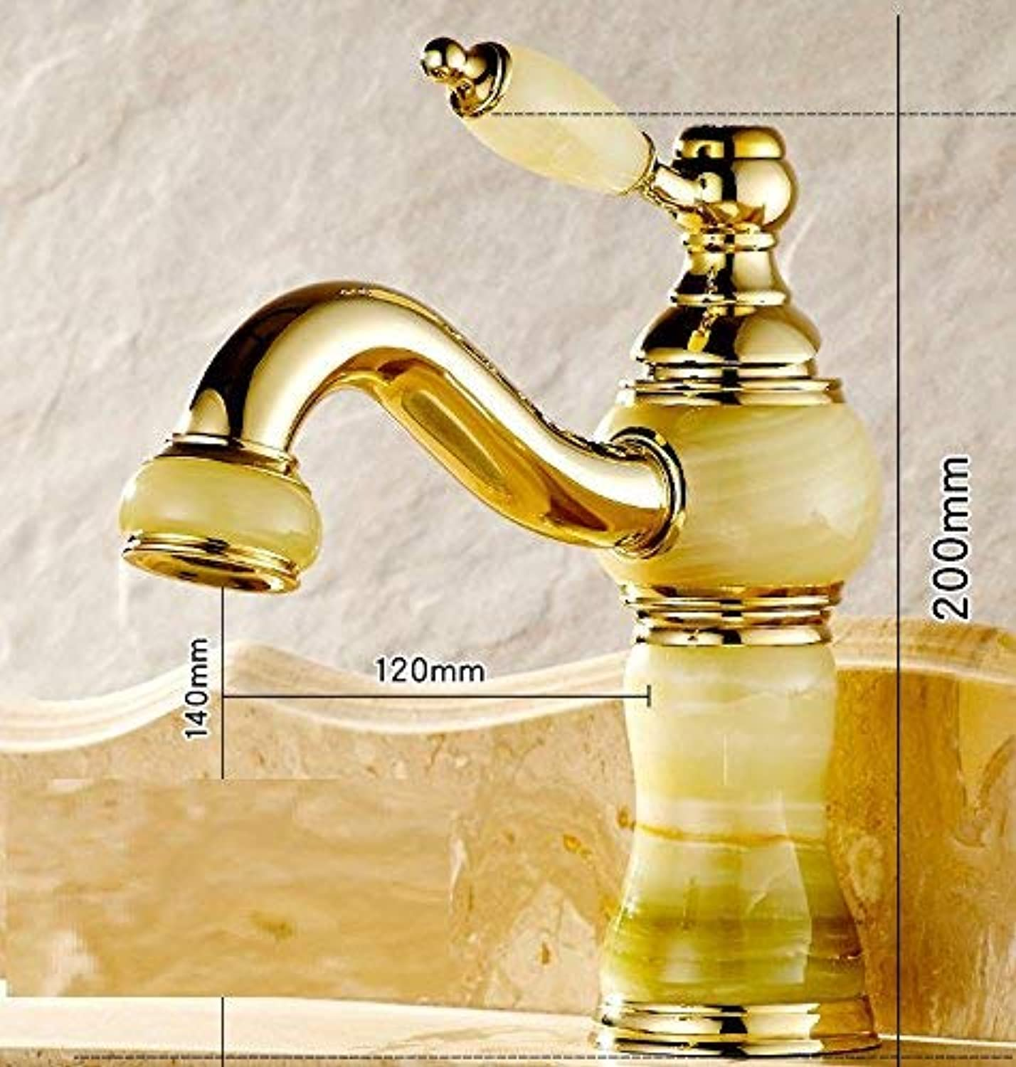 Oudan Copper is a European-style retro-style sink gold and jade hot and cold water tap