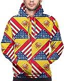EE. UU. Bandera de España Americana Hombres Sudaderas con Capucha Sudaderas con Capucha de Manga Larga Abrigo con Bolsillo