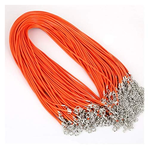 HUIJUNWENTI 2 Mm Real Leather Handmade Adjustable Braided Rope Necklaces Pendant Charms Findings Lobster Clasp String Cord (Color : Orange)