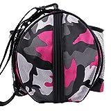 YSYANG Bolsa de baloncesto portátil para transportar balones de voleibol de fútbol, bolsa de hombro para deportes al aire libre, equipo de entrenamiento, bolsa de almacenamiento, Pink gray