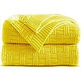Shaddock Couverture Tricot Plaid de Luxe 100% Coton Couverture Chauffante Jeté de Canapé Couvre Lit Blanket Sofa Fauteuil(Jaune)