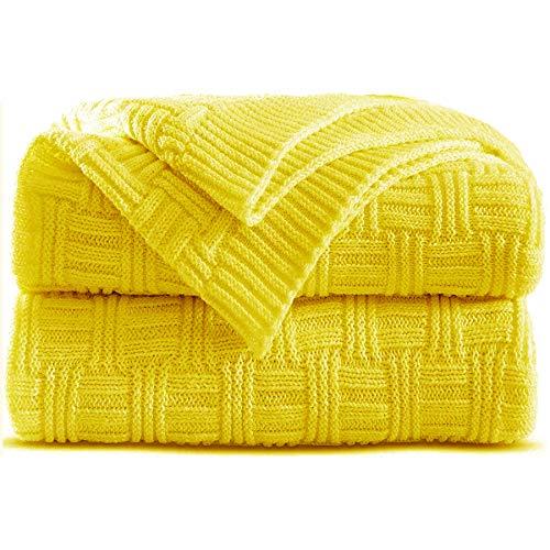 Shaddock Coperta a maglia, 100% cotone, coperta per riscaldarsi per divano, letto, poltrona giallo