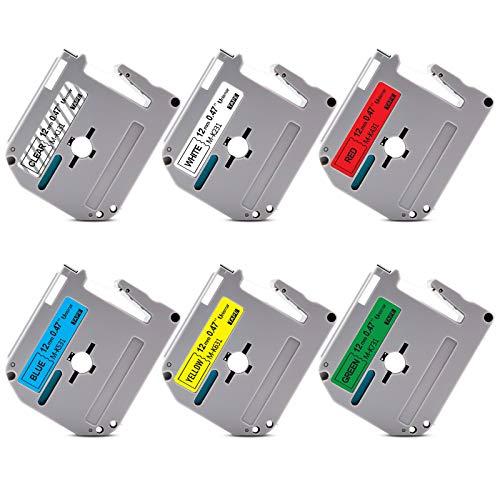 """Unismar Compatible Label Tape Replacement for Brother M Tape M-K131 M-K231 M-K431 M-K531 M-K631 M-K731 for PT-70BM PT-M95 PT-90 PT-70 PT-65 PT-85 Label Maker, 1/2"""" x 26.2', 6-Color, 6-Pack"""