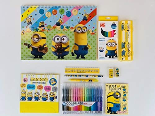 ミニオンズ キッズおえかき/文具セット 豪華11点詰め合わせ (特大おえかき帳、メモ帳、カレンダー、カラーペン18色、色鉛筆12色、鉛筆、シャープペンシル、消しゴム x 2、定規、筆箱)