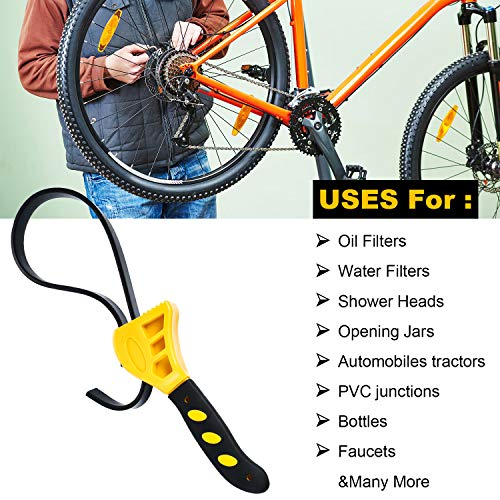 2 Pieces Rubber Strap Wrench Oil Filter Wrench Adjustable Rubber Wrench as Jar Opener Pipe Wrench Tool for Mechanics Plumbers Home Kitchen Use (Yellow)