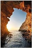 Wallario Poster - Höhlen am Meer in Premiumqualität, Größe: 61 x 91,5 cm (Maxiposter)