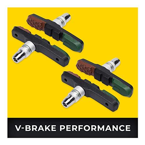 V-Brake Pattini Freno 2 Paio 72mm Asymmetric I per Shimano, Tektro, Avid, Sram, XLC etc I Alte Prestazioni I Resistente & Vestibilità Perfetta Pastiglie Freni