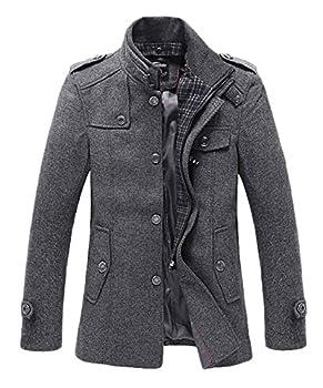 Wantdo Men s Slim Fit Pea Coat Warm Winter Windproof Wool Jacket Grey 2XL