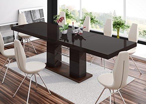 Furniture24 Esstisch LINOSA-2 Tisch Ausziehbar in Super Hochglanz Acryl (wenge Matt/Braun Hochglanz)