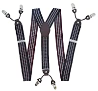 サスペンダー Y型 吊りバンド ズボンつり 結婚式 フォーマル ビジネス ゴム製 調節可能 太め ダブルクリップ (赤)