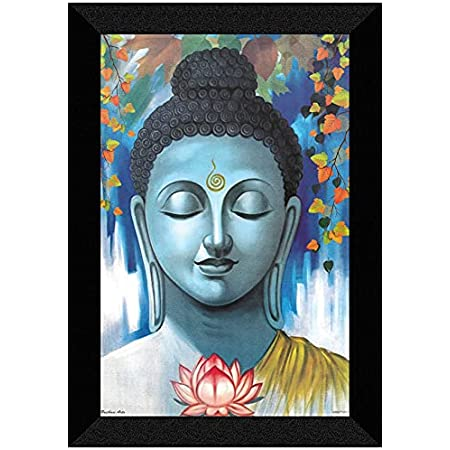 SAF 'Buddha' UV Teatured Digital Reprint Framed Painting (11 inch X 14 inch) SANFK82