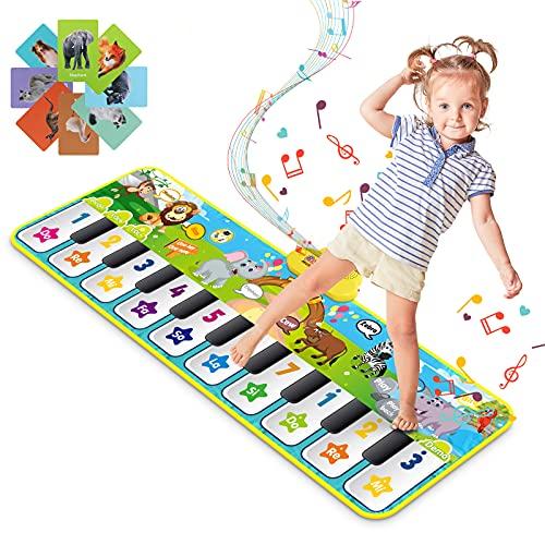 RenFox Tapis Musical Enfant, Tapis Jeu de Danse Tapis Piano Animale avec 10 Touches et 42 Sons pour Garçons Filles, Jouets Éducatifs Cadeaux pour Anniversaires