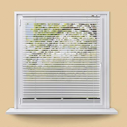 ECD Germany Tende Veneziane in Alluminio 110 x 130 cm - Bianche - protezione visiva, luminosa e antiabbagliante - per finestre e porte - con kit di montaggio - tenda veneziana alluminio bianche