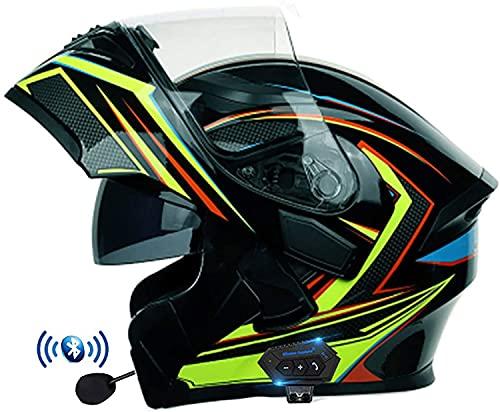 Casco Moto Modular con Bluetooth, Casco de Moto Integral, Ligero, con Doble Visera, Aprobado por Dot/ECE, Cascos de Integrado Modular para niños, jóvenes, Hombres, Mujeres, Adultos(Color:B,Size:XL=5