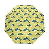 Dolphin - Paraguas náutico amarillo para mujer y hombre, cierre automático, tamaño pequeño, plegable, 3 unidades