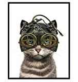 Gothic Steampunk Cat in Goggles, Gears - Cat Wall Art - Steampunk Decor - Gothic Home Decor - Cute Cat Lover Gifts for Kitty Kitten Pussycat Victorian Renaissance Fan - 8x10 Cat Poster Picture