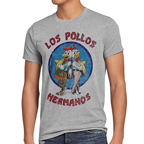style3 Los Pollos T-Shirt Herren, Größe:M, Farbe:Grau meliert