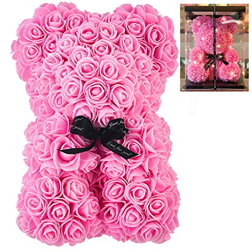 Lmeison Rose Bear Teddy Pink, 10inch Artificial Flowers Rose Bear with Fully-Assembled Box and Light, Women Girls Gift for Christmas, Thanksgiving, Birthday, Mothers Day, Valentines Day, Anniversary