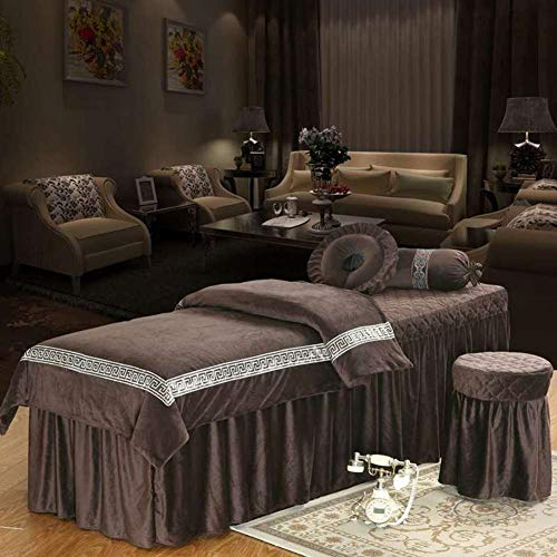 Plush Beauty Massage Table Sheet Sets, European Style Velvet 4-Piece Bed Cover Bedspread with Face Rest Hole for Spa Massage Table-Coffee 80x190cm(31x75inch)