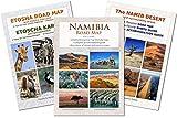 Le jeu de cartes complet NAMIBIE: carte routière NAMIBIA ROAD MAP + ETOSHA MAP (avec galerie de photos des animaux sauvages) + NAMIB DESERT MAP, idéal pour la planification et le voyage