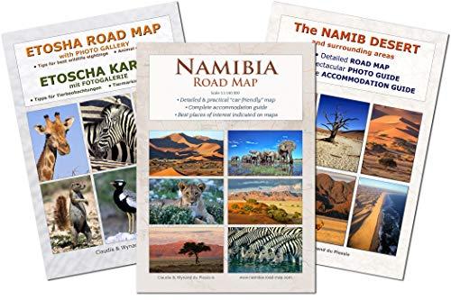 Das komplette Kartenset NAMIBIA: Straßenkarte NAMIBIA ROAD MAP + ETOSCHA KARTE (mit Fotogalerie der Wildtiere) + NAMIB DESERT MAP (mit Fotos der schönsten Orte & genauer Lage), praktische A4 Hefte, übersichtlich & zuverlässig, ideal für Planung & Reise