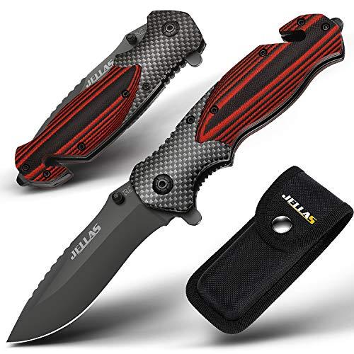 Jellas Couteau Pliant, 4-1 Couteau de Poche de avec Brise Vitre et Coupe Ceinture, Lame 9Cr18 Acier Inoxydable, et Le Mécanisme de Pliage Sûr et Robuste pour Camping, Chasse