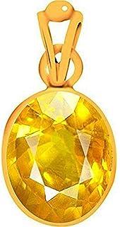 Ramneek Jewels Divya Shakti 12.25-12.50 Carats Yellow Sapphire Pendant/Locket (Pukhraj/Jupiter Stone Panchadhatu Pendant) 100% Original AAA Quality Gemstone