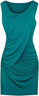 GOWOM S-5XL Plus Size Elegant Women Party Dress Summer Fashion Sleeveless Solid Color