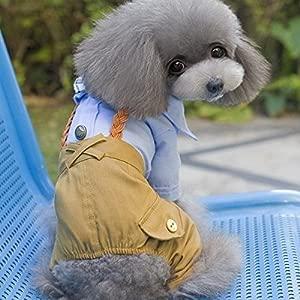 Bazaar Puppy Teddy Dog Clothes Suit Tuxedo Bow Overalls Pet Jumpsuit Coat Jacket Outfit