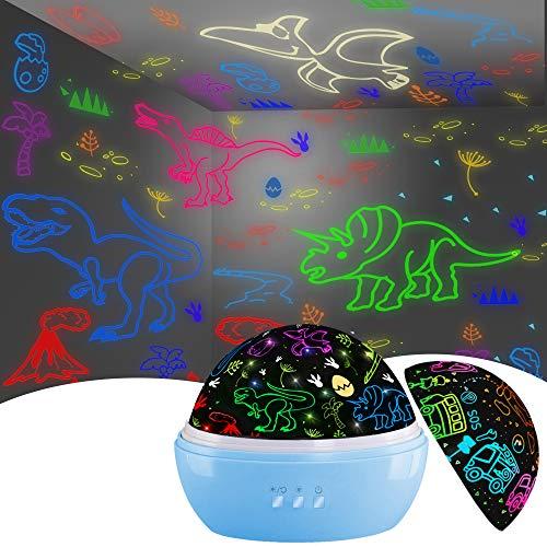 Night Light for Kids,Dinosaur Decor Boys Room,Projection and Night Light Mode 360° Rotation Lamp...