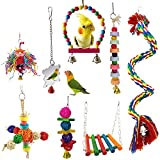 MQFORU Birds Swing Toys Bird Chewing Toys Birds Cage Toys, 8PCS Suitable for Small Parakeets, Cockatiels, Conures, Macaws, Parrots, Love Birds, Mynah, Finches ect.