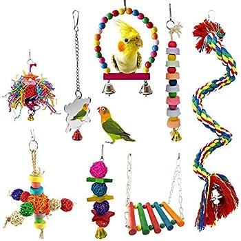 MQFORU Balançoire pour oiseaux, jouets à mâcher pour cage à oiseaux, 8 pièces, convient pour les petites perruches, calopsittes, conures, aras, perroquets, oiseaux amoureux, mynah, pinsons, etc.