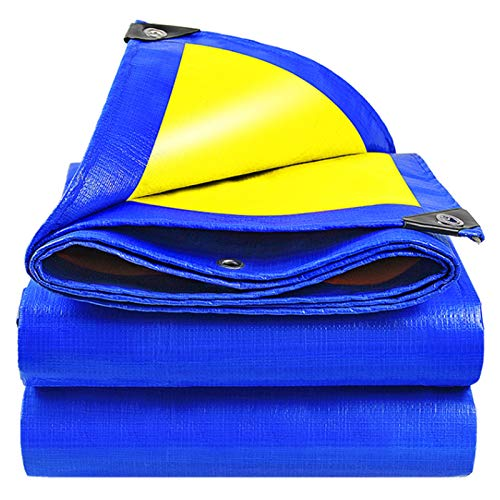 Lona Alquitranada Lona Impermeable Azul/Amarilla - Lona Impermeable Espesa Al Aire Libre con Ojales, Toldo con Protección Solar Resistente Al Desgarro, 170 G/M² (Size : 2m × 2m)