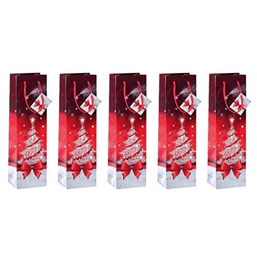 SIGEL GT024 Flaschen-Geschenktüten aus Papier, 5er Set, rot, Weihnachten - weitere Größen
