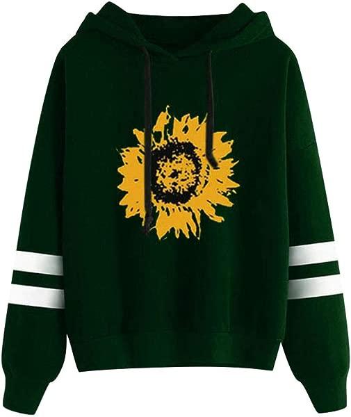 Redacel Womens Girls Teen Sunflower Print Long Sleeve Sweatshirt Hooded Pullover Tops Blouse